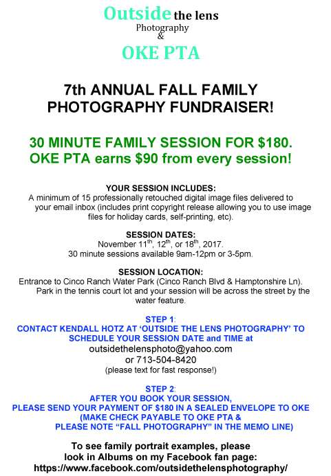 Fall Family Photography Fundraiser Flier